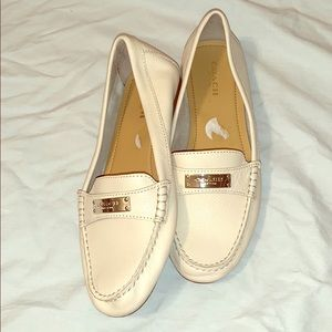 Coach Fredrica Cream and Gold Loafers
